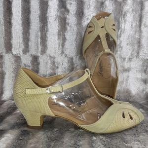 3/$18 Diamante Block Heels Snakeskin T-Strap